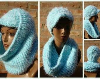 Baby Blue Hat and Neckwarmer Set - Cowl, Cap, Crochet hat set - handmade cap and scarf