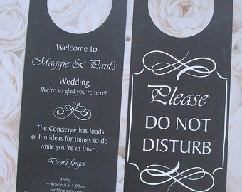 Hotel Door Hangers - RUSTIC CHALKBOARD - Double Sided for Out of Town Wedding Guests - Do Not Disturb