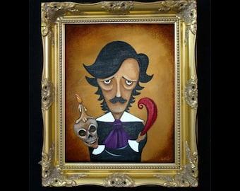 Dark Gothic Poe Portrait Caricature Art Print - Silence