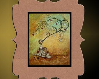 Whimsical Creeper Art Print   -- You've Got A Friend -- Art  Print Giclee - 8x10 - Whimsical Tree - Hedgehog - Owl