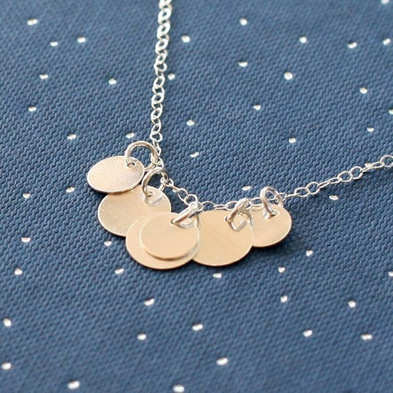 bellissima - brushed silver coin necklace