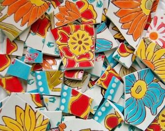 Mosaic Tiles-- Jackie's Flower Garden---80 Tiles
