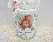Soaps and Perfumes, Hand Painted Jelly Jar with French Graphic, Decorative Display, ECS, CSSTeam