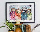 Warrior family american Indian kachina art print Watercolor & Archival Print from my original illustration home decor - 8x10-11x14-13x19