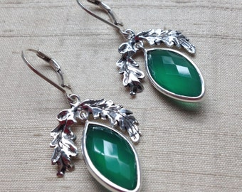The Oak Leaf Earrings- Green Onyx and Sterling Silver