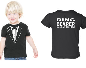 PERSONALIZED Children Wedding Tuxedo RING BEARER Tshirt  Child size Tux  Rehearsal Shirt