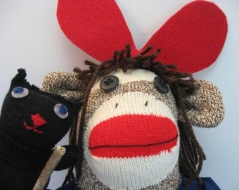 Kiki sock monkey and Jiji sock cat MADE TO ORDER