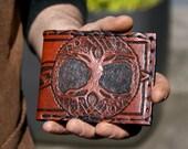 Men's Wallet-Men's Leather Wallet-Tree of Life-Leather Wallets-Men's Tooled Leather Wallet-Mens Celtic Wallet- Leather Wallet-Leather Wallet
