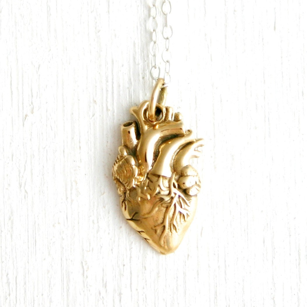 anatomically correct heart necklace sterling silver or