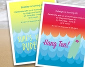 Surf/Beach Waves Birthday Party Invitation (printable - Pink/Green and Blue/Yellow options)