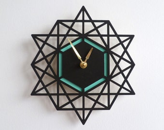 Modern Geometric Wall Clock Two Tone Colorful Clock