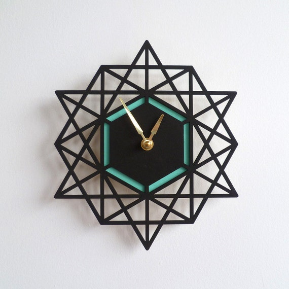 Modern Geometric Wall Clock Two Tone Colorful Clock