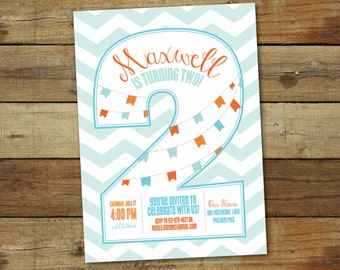 2nd birthday invitation, second birthday party, party invitation, number two