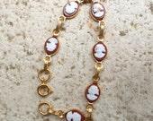 Vintage Dainty Cameo Bracelet, vintage Bracelet, , vintage  jewelry, cameo jewelry, bracelet, vintage bracelet, vintage cameo