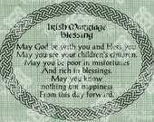 Digital Download Irish Marriage Blessing, Irish Verse with Celtic Knot border, elegant Wedding digi stamp, Love Typography, Digital Transfer