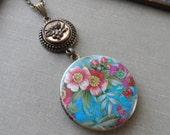 Antique Button Locket Necklace- Robin's Garden