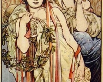 ART SILK panel Mucha - FRIENDSHIP 2 ladies Earth Tones