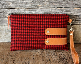 Red and Black Gingham Wool Wristlet  / Clutch / Kindle Case