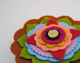 Multicolored Layered Wool Felt Flower Brooch