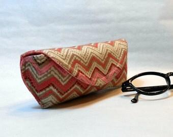 Eyeglass Case or Sunglass Case - Peachy Chevrons