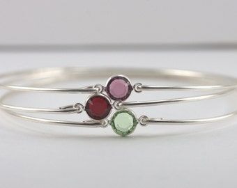 Choice of 3 Birthstone Sterling Silver Bangle Bracelet, Sterling Silver Bracelet, Birthstone Bangle Bracelet, Birthstone Bracelet [#763]