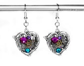 Steampunk Jewelry Womens Earrings Vintage Watch Silver ORNATE HEART Rose Turquoise Crystal Wedding Valentine's Day - Jewelry by edmdesigns
