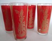 VINTAGE Tumblers Glasses Asian GODDESS Glasses - Set of Four