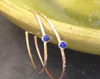 Modern lapis lazuli 14kt gf hoops