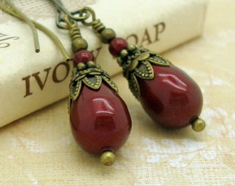 Victorian Earrings with Swarovski Pearl Teardrops in Bordeaux Wine Red