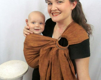 Linen Ring Sling - Designer Linen COPPER Cross Dye fabric - toddler sling, summer, baby shower gift - DVD included