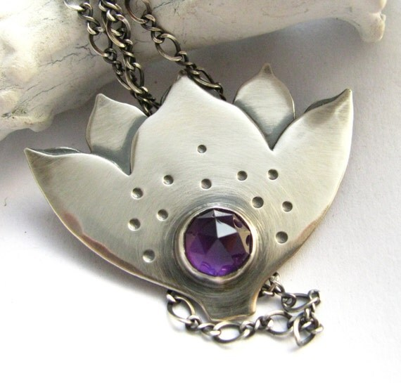 RESERVED Amethyst Lotus Necklace Artisan Jewelry - OOAK Jewelry -  Purple Lotus Sterling Silver Necklace - Symbolic Wearable Art Jewelry