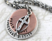 Mens Personalized Jewelry, Personalized Cross Necklace, Baptism Gift, Confirmation Gift, Personalized Necklace, Mens Necklace