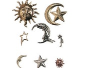 charming embellishments new still in package sun star moon 16 pieces