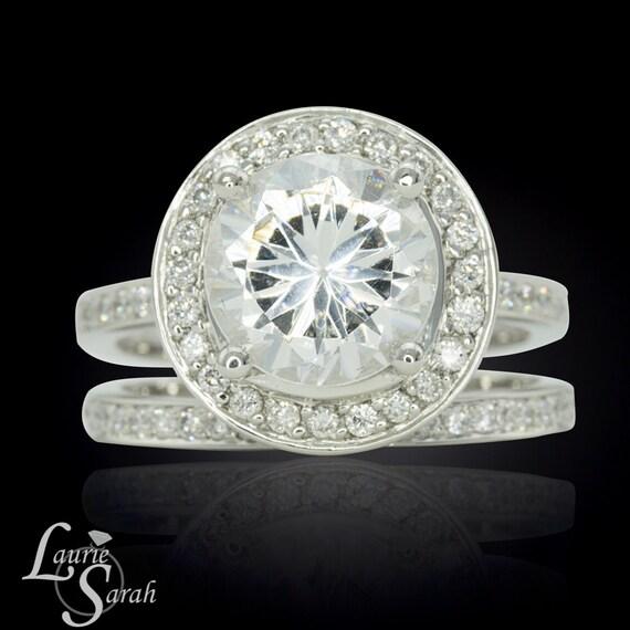 Halo Engagement Ring, Cubic Zirconia Single Diamond Halo Engagement Ring and Wedding Band Set - LS1988