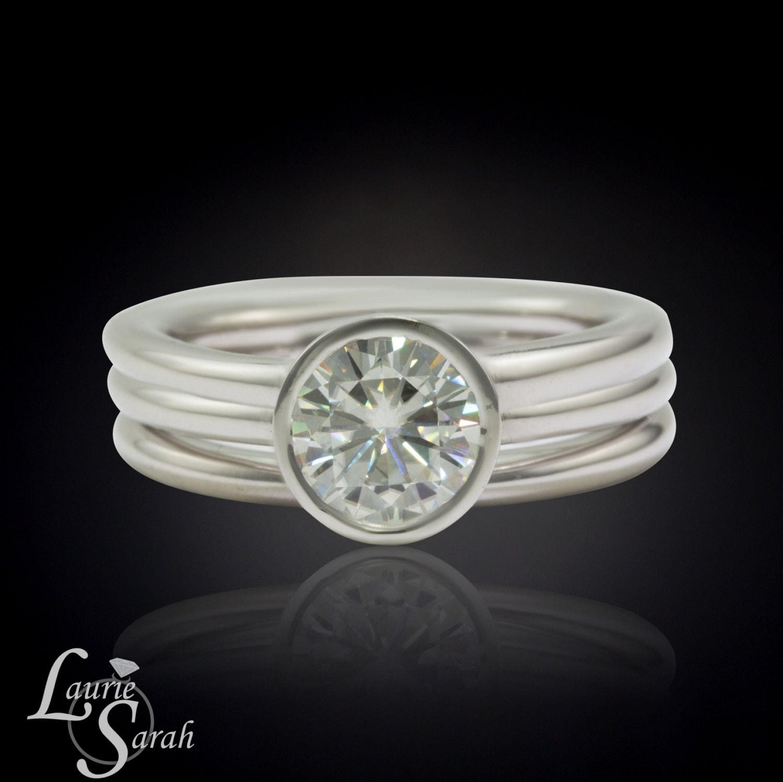 Bezel Engagement Ring Moissanite Engagement Ring and Wedding