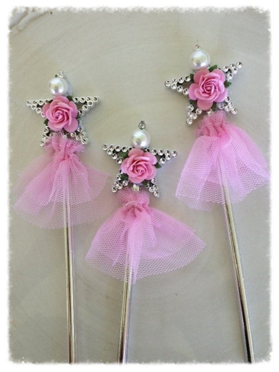 items similar to shabby chic magic wands for princess birthday party set of six birthday. Black Bedroom Furniture Sets. Home Design Ideas