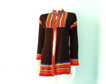 vintage 70s Boho Striped Knit Cardigan S