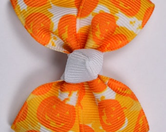 Halloween Pumpkin Camo Hair Bow 2.5 Inch Pinwheel Boutique Bow for Babies Toddlers Girls Hair Bows