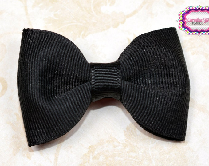 "Black 2.5"" Hair Bow Tuxedo Bow Simple Bow Boutique Bow for Babies Toddlers Girls Hair Bows"