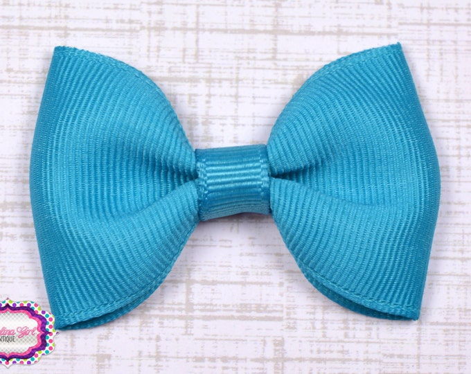 "Turquoise Tuxedo Bow  ~ 2.5"" Hairbow ~ Small Hair Bow ~ Girls Barrette ~ Toddler Bow ~ Baby Hair Bow ~ Hair Clip ~ Girls Hair Bow"