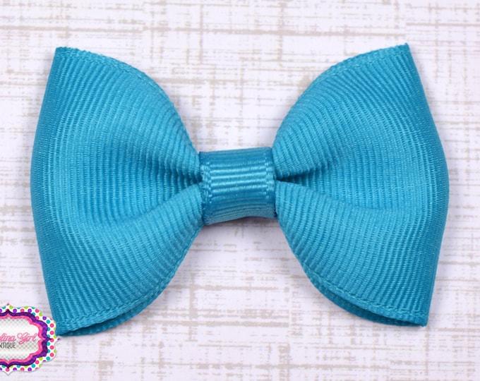 "Turquoise Tuxedo Bow  ~ 2.5"" Hairbow ~ Small Hair Bow ~ Girls Barrette ~ Toddler Bow ~ Baby Hair Bow ~ Hair Clip ~ Girls Hair Bow"