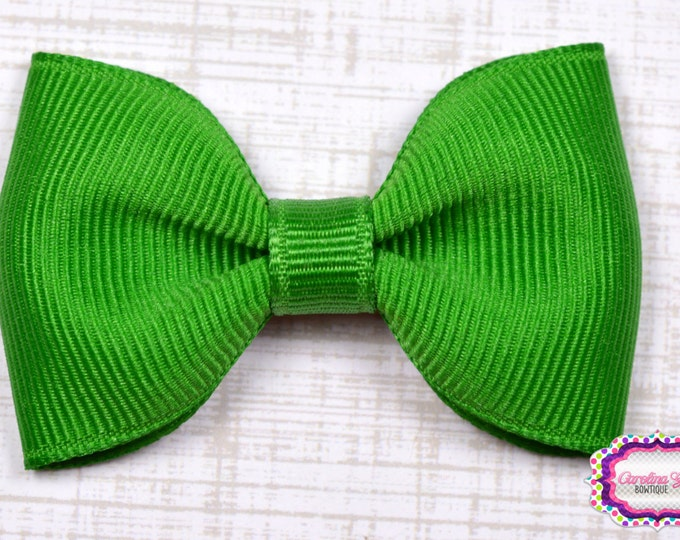 "Emerald Tuxedo Bow  ~ 2.5"" Hairbow ~ Small Hair Bow ~ Girls Barrette ~ Toddler Bow ~ Baby Hair Bow ~ Hair Clip ~ Girls Hair Bow"