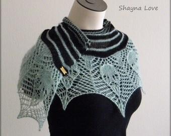 13 Skulls - Handmade knit scarf or shawl - black & blue stripes in silk angora - merino wool