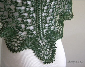 Mermaid Net - Hand Knitted Lace Shawl - Triangular Scarf - Green - merino wool shawlette