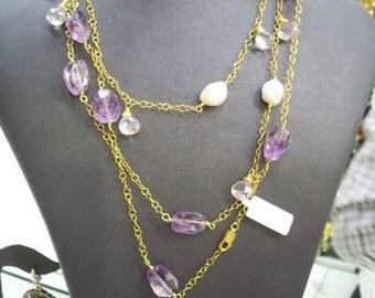 SALE SALE SALE--------Unique Amethyst and Pearl silver necklace