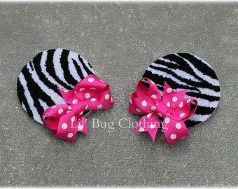 Zebra Print And Hot Pink Girls Minnie Mouse Ears Hair Clip Accessories