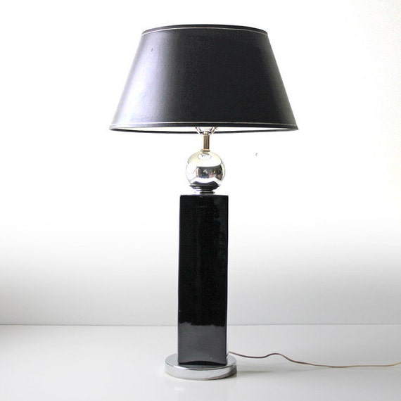 Modern Black Glazed Tall Ceramic Table Lamp