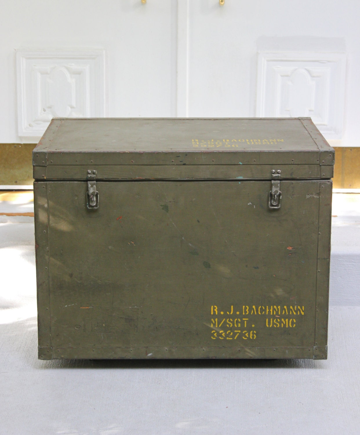 Large Army Green Military Metal Trunk Metal Chest