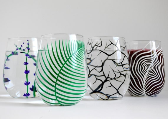 Stemless Wine Glass Sampler Set - 4 Piece Hand Painted Wine Glass Collection