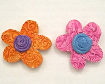 Flower Magnets, Floral Magnets, Set of Two, Handmade Magnet, Polymer Clay, Housewares, Home Decor, Co Worker gift, Hostess gift
